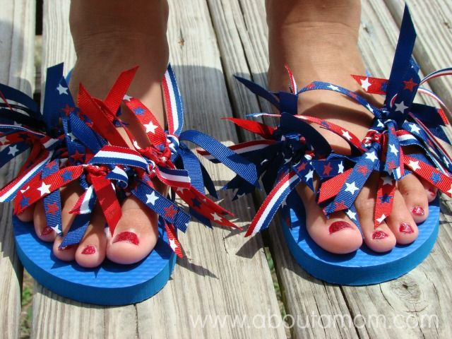 Diy Ribbon Flip Flops 4th Of July Ribbon Flip Flops