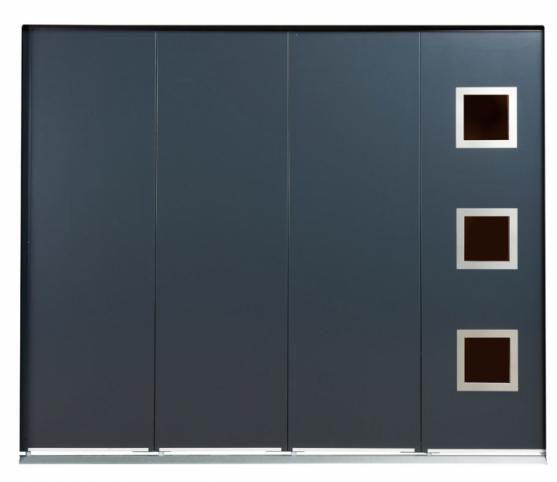 Porte de garage panneau sans rainure de couleur Gris Anthracite Option Hublot carré Inox