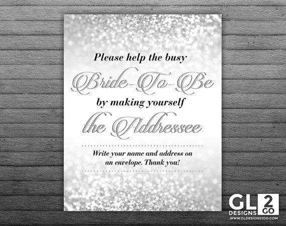 Silver Address an Envelope Sign. 8x10 Printable Glitter Sparkle Bridal Shower Envelope Address Sign, Write your Address Table Sign by GLDesigns2Go