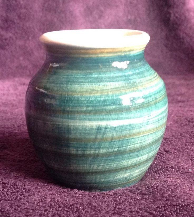 Miniature green IOW Bembridge Isle of Wight pottery posy vase (Jo Lester?)