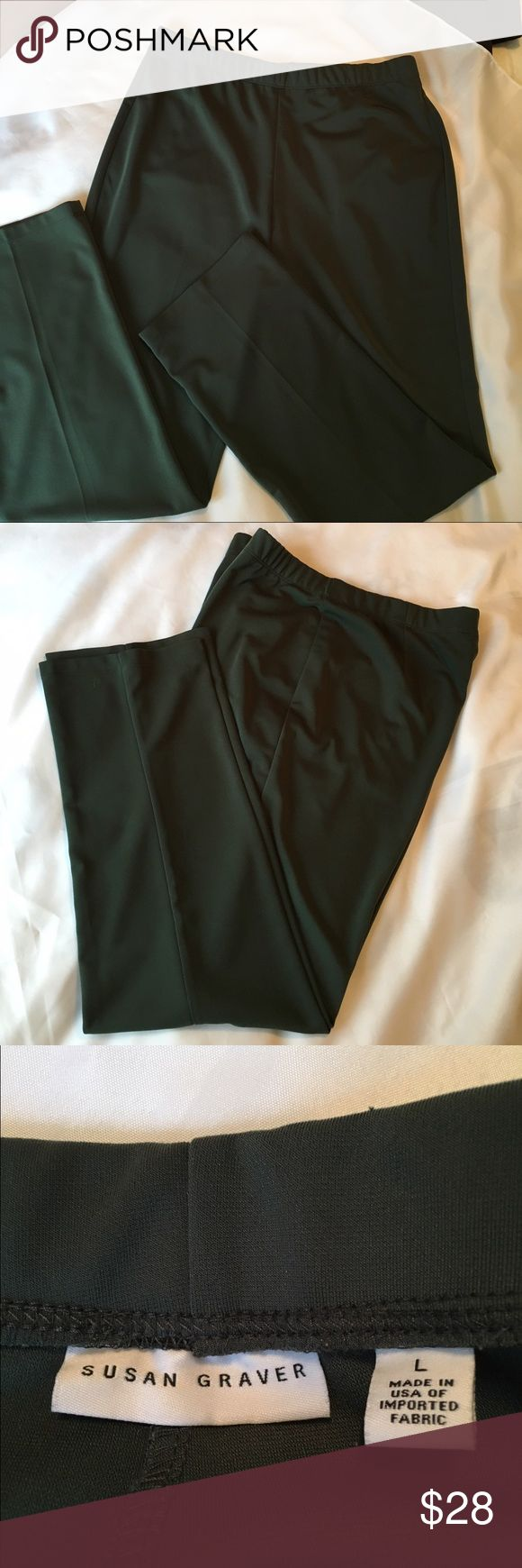 """Susan Graver Milano Knit straight leg pull-on pant Susan Graver Milano Knit straight leg pull-on pant in classic forest green. Beautiful drape of material. No cling floats over the body. Size large fits 14-16. Inseam 30"""" machine wash. Like new condition. Only selling because they are no longer my size. Susan Graver Pants Straight Leg"""