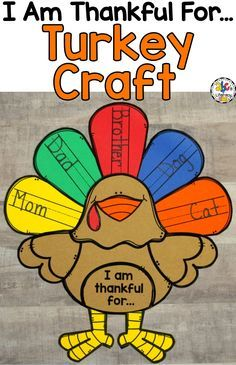 """Are you looking for a fun, #Thanksgivingcraft? This """"I Am Thankful For.."""" Turkey Craft and Writing Activity is a cute and creative way to get your students to think and write about what they are thankful for this season. Hang your rafter of turkeys on a bulletin board in your classroom or hallway for a festive decoration for the up-coming holiday. Click on the picture to learn more about this #turkeycraft!"""
