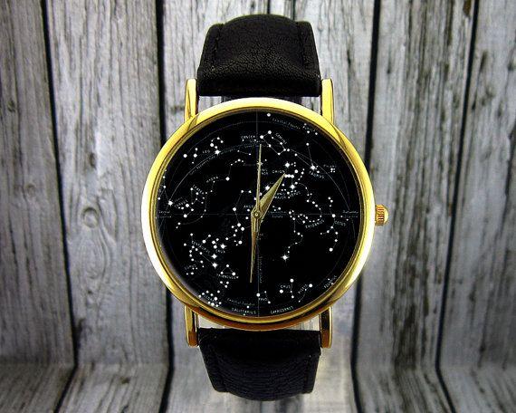Jahrgang Sternbild Watch Leder-Watch Damenuhr von RedJuanShop