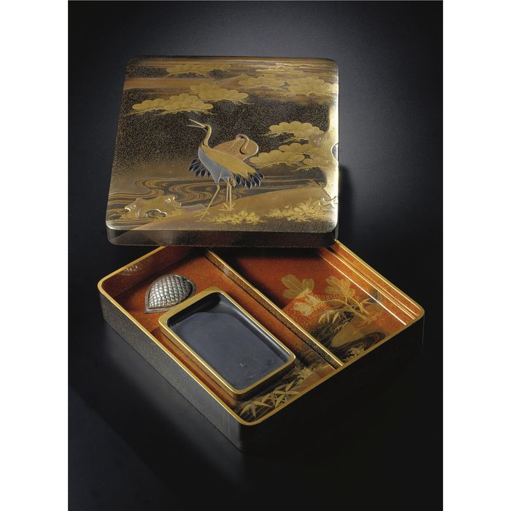 A Lacquer writing implement box and cover (suzuribako) Late 19th century. Estimate 6,000 — 8,000 USD. LOT SOLD. 10,625 USD; 16/09/08. ||| sotheby's n08464lot3p4dken