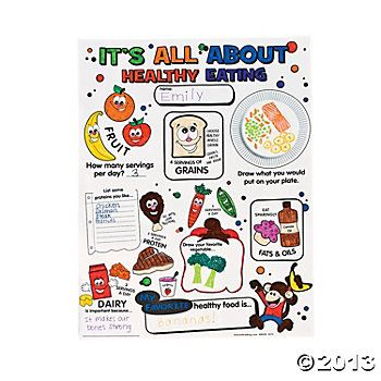 Color Your Own Healthy Eating Poster