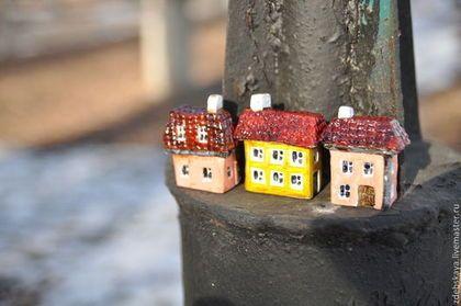 Улица Мира - жёлтый,розовый,бордовый,крыши,дома,город,улица,сувенир,Маленький подарок