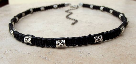Black Leather Tribal Necklace:  Antiqued by SherryKayDesigns