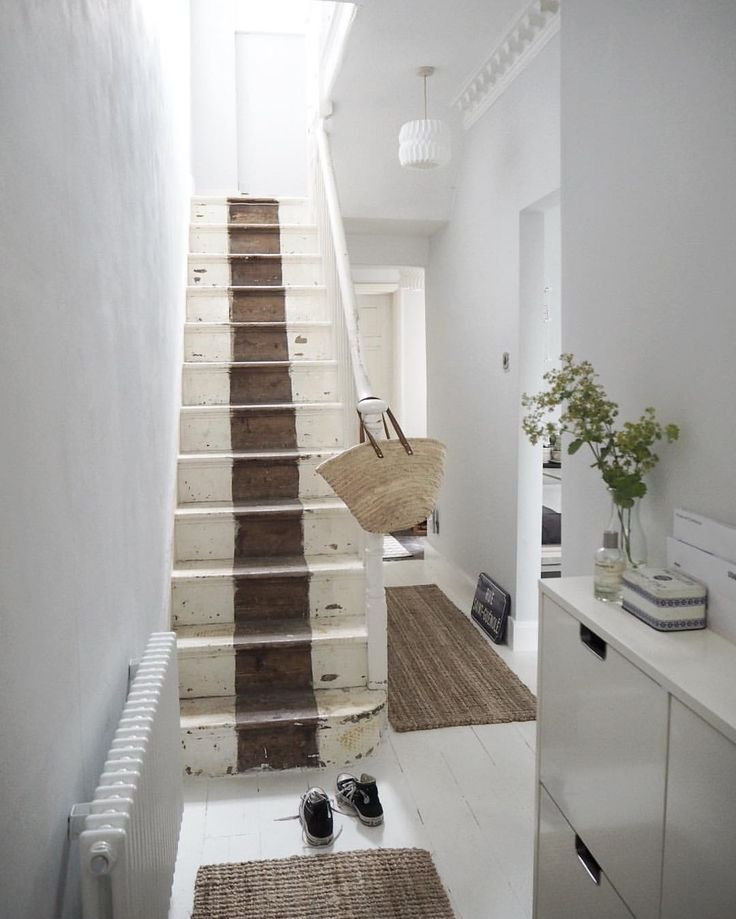 Hallway makeover - stripped back stairs, lovely light, bright space in  Farrow & Ball's