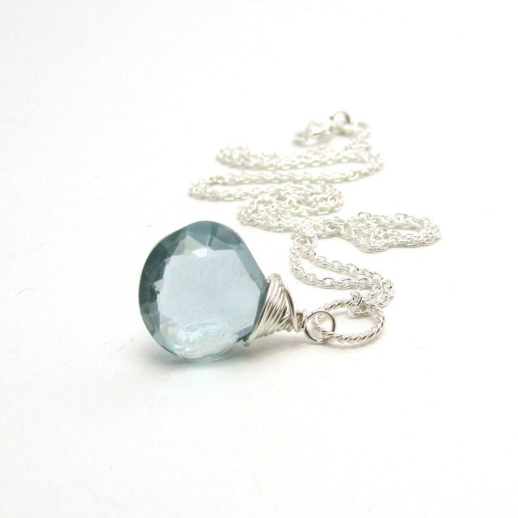 Blue aquamarine necklace, March birthstone jewelry, ice blue aquamarine pendant, sterling silver pendant, something blue aquamarine jewelry by FelisaJewelry on Etsy https://www.etsy.com/listing/176442466/blue-aquamarine-necklace-march