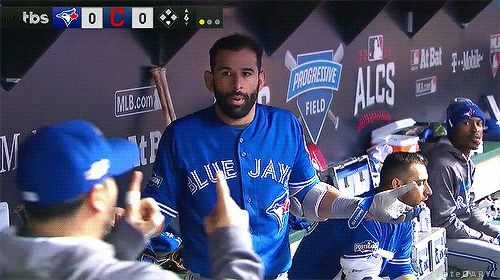 Jose Bautista doesn't like the umpire's called strike on him.  Dioner Navarro doesn't either and demonstrates just how far outside the pitch was.  Game 1.  2016 ALCS.  Toronto Blue Jays.  Cleveland Indians. MLB. Baseball.  Canada's Team.  #OurMoment