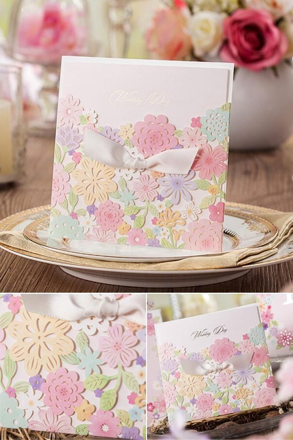 Colorful flowers laser cut wedding invitation inspiration.