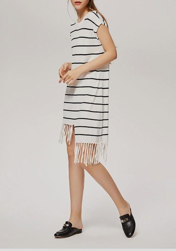 02d2722069d450 White-Black Striped Irregular Tassel Comfy Casual Midi Dress ...
