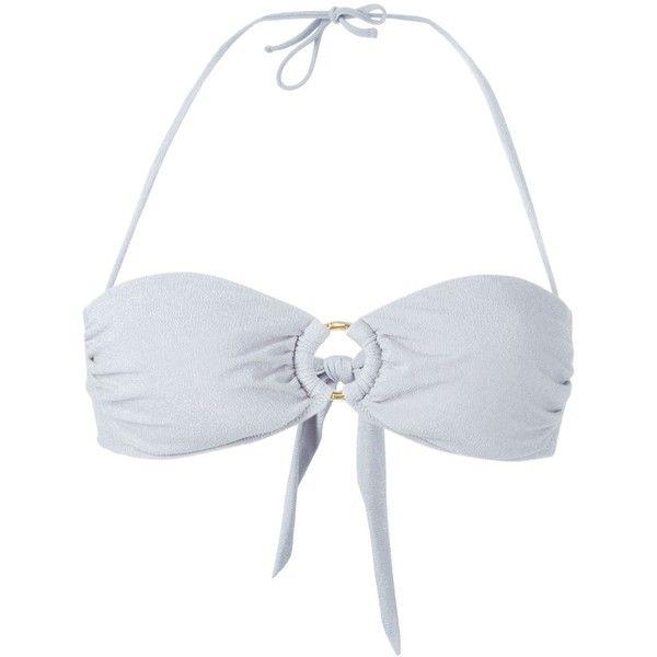 Heidi Klein St. Thomas Bandeau Bikini Top ($128) ❤ liked on Polyvore featuring swimwear, bikinis, bikini tops, grey, bandeau top bikini, heidi klein swimwear, bandeau bikini top and bandeau tops