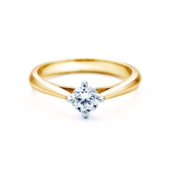 Pierścionek zaręczynowy z diamentem 0,50 ct o szlifie brylantowym wysokiej czystości SI1/G, wykonany z 18-karatowego żółtego złota (próba 0,750). www.savicki.pl/kolekcje/the-light-pl