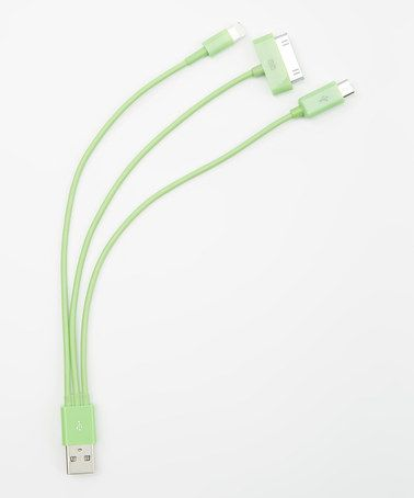 Love this Green Whip Three-Port Charge & Sync Cable by Battery On The Go on #zulily! #zulilyfinds