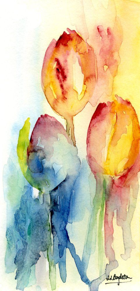Free Ship Original Watercolor Abstract Tulip por watercolorwork