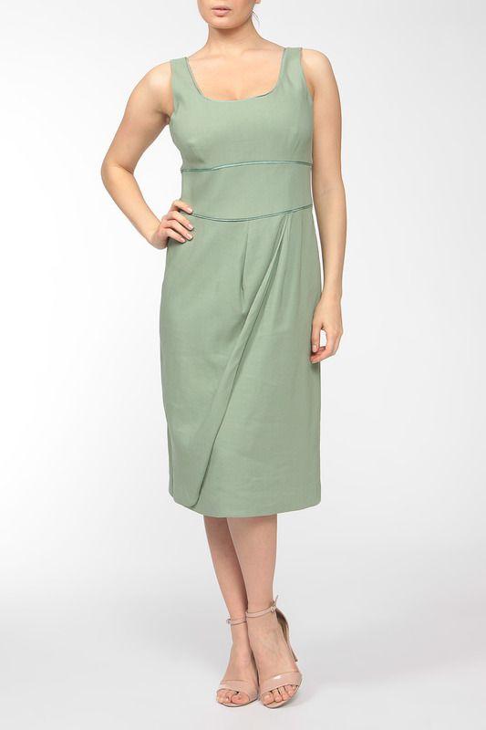 облегающее зеленое платье длины миди