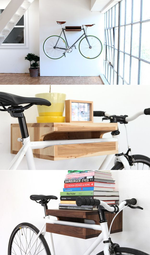 Space-Saving Bike Rack Solutions. I love this we have two bikes sitting in our spare room taking up space