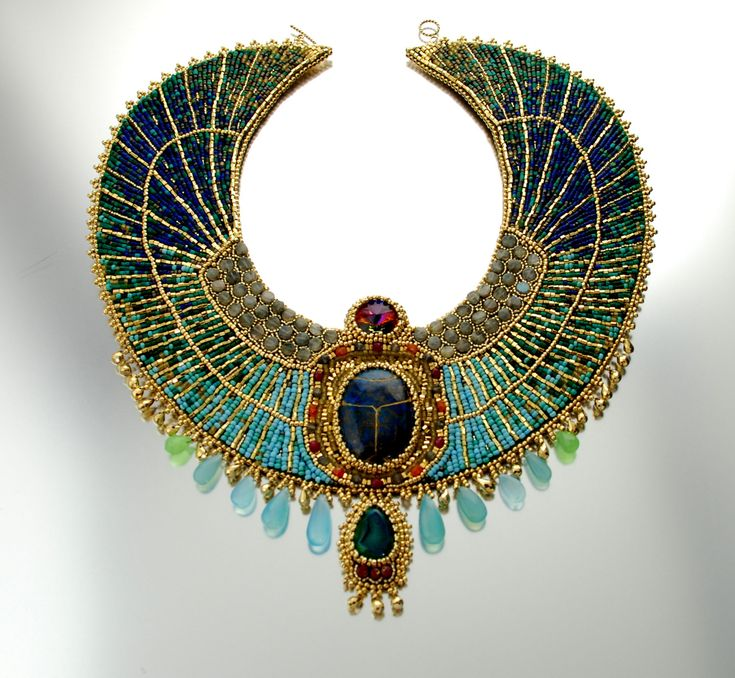 Egyptian Goddess -  RESERVED LISTING Gold Plate and Gemstone Statement Collar Necklace, Bead Embroidered, Egyptian Scarab Bib Necklace. 750.00, via Etsy.