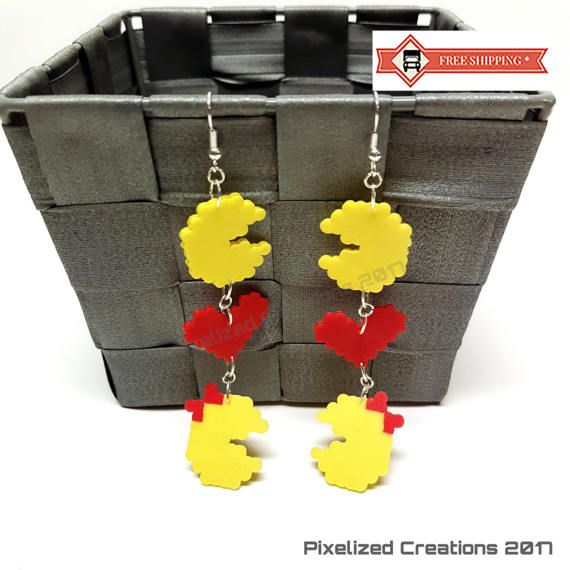 Pac-Man & Ms. Pac-Man Love Themed Arcade Game Inspired Silver