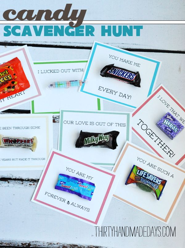 """This could be used for your anniversary, boyfriend's or spouse's birthday, etc. """"I've made this super duper easy.  All you do is collect the candy and print out the cards.  I used Avery postcards because I use them for just about everything I can. I used glue dots to adhere the candy. You could put them on top of presents, stick them in cards, whatever you want."""""""