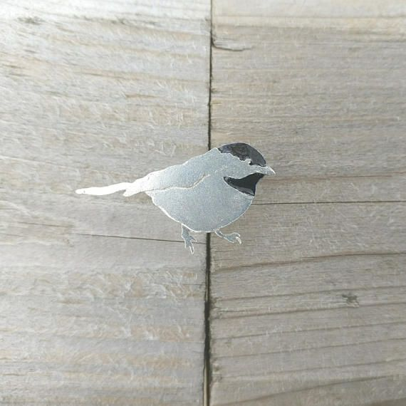 "Chickadee Pin! This hand-fabricated silver pin is 1 1/4"" long with a nickel tie tack backing and hand-painted with enamel."