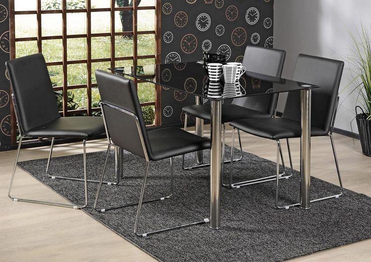 SLASH-pöytä 120x75 cm ja 4 kpl FADO-tuoli musta | Sotka.fi