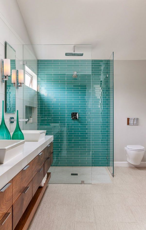 aquamarine, teal subway tiles, walk in shower.