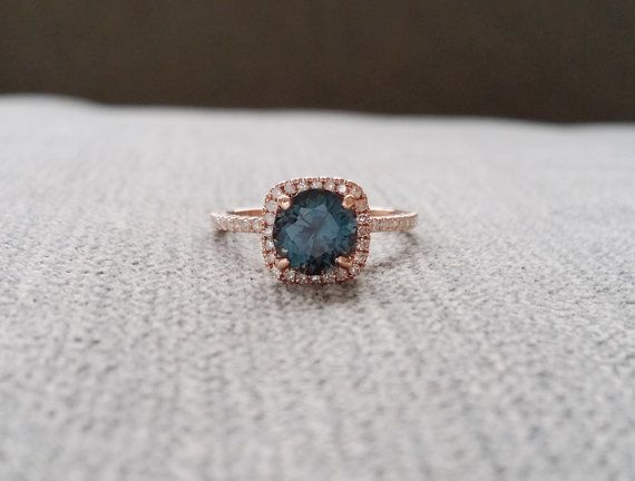 Halo Teal Titanium Spinel Diamond Ring Gemstone by PenelliBelle