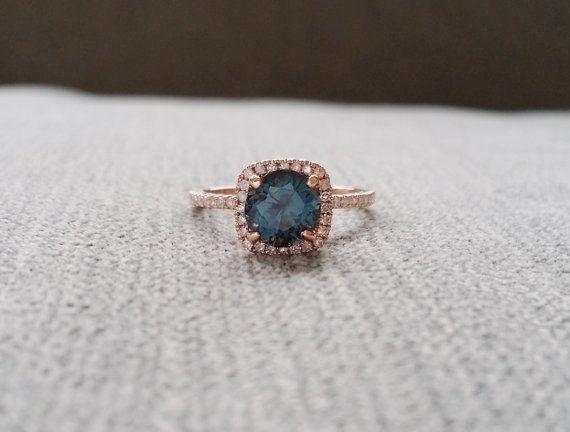Halo Teal Titanium Spinel Diamond Ring Gemstone by PenelliBelle