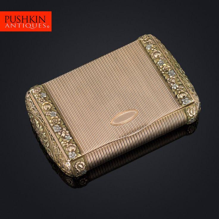 ANTIQUE 19thC FRENCH THREE-COLOUR 18k GOLD SNUFF BOX c.1800