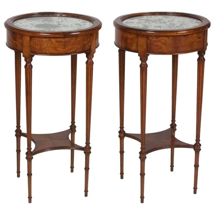 Pair of Louis XVI Style Cherry End Tables | From a unique collection of antique and modern side tables at https://www.1stdibs.com/furniture/tables/side-tables/