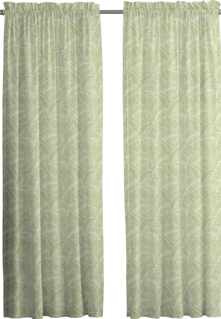 Tropical Leaf Rod Pocket Curtain Panel