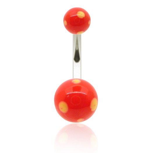Piercing de nombril avec deux boules acrylique de couleur rouge avec pois jaunes. Vous trouverez sur C-bo.fr des piercing à tous les prix.