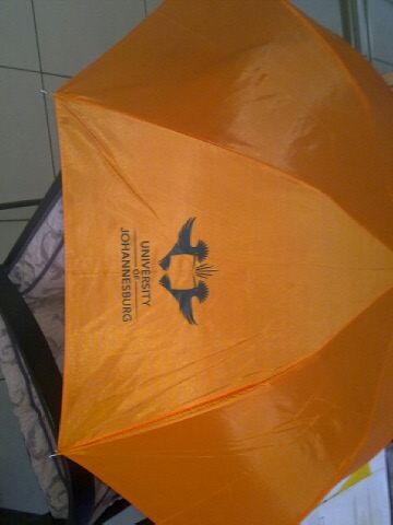 Orange umbrella for the University of Johannesburg