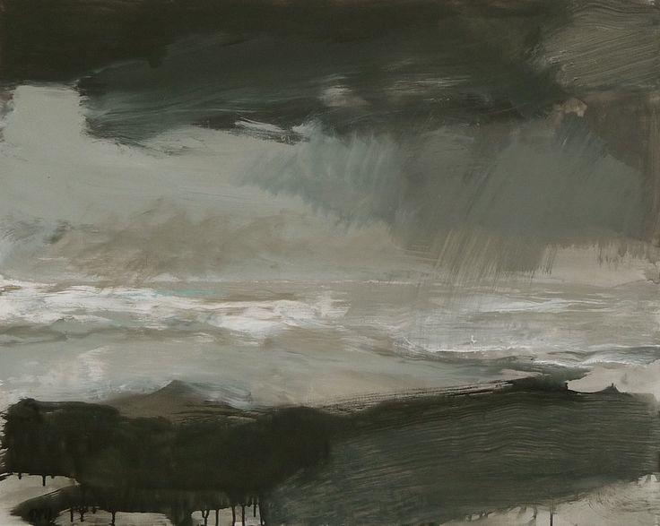 David Pearce Grey Sea - mixed medium on canvas