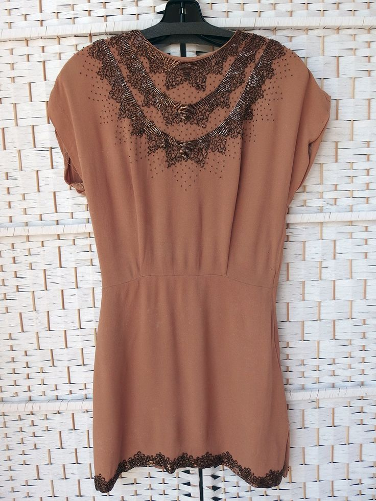 Vintage 40s Cocoa Tan Rayon Crepe Bronze Tons of Beads Dress Top As Is/Repair XS DIY by DarkCityDameVintage on Etsy