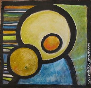 Nathalie- monnatelier.blogspot.com... pastel néocolor et peinture acrylique