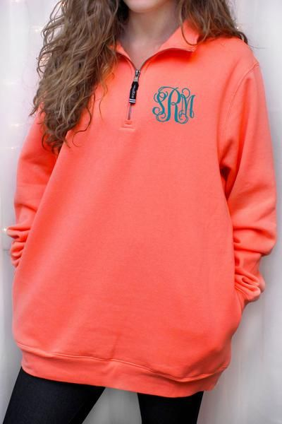 This comfortable sweatshirt has a quarter zip design, with convenient side pockets. Perfect for cooler days! Charles River Quarter Zip Sweatshirt (Men's Cut), Bright Coral #ewamboutique #pullover #monogrammedpullover