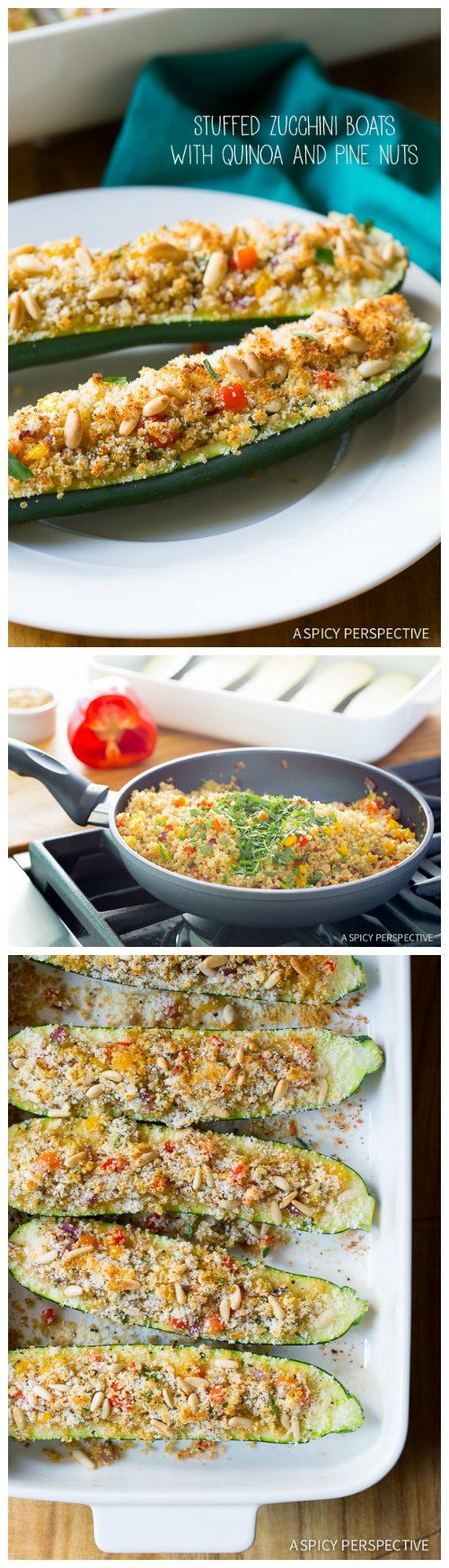 Light and Perky Stuffed Zucchini Boats with Quinoa and Pine Nuts #healthy #vegetarian