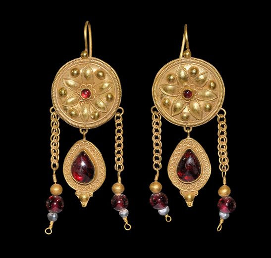 Ancient & Medieval History - yzantine Large Gold, Garnet and Glass Bead Earrings, 6th-8th century AD