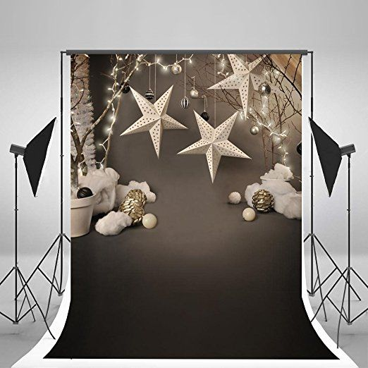 5x7ft Kate No Wrinkles Gray Photo Backdrops White Five-pointed Star Decoration Background for Newborn Studio Backdrop