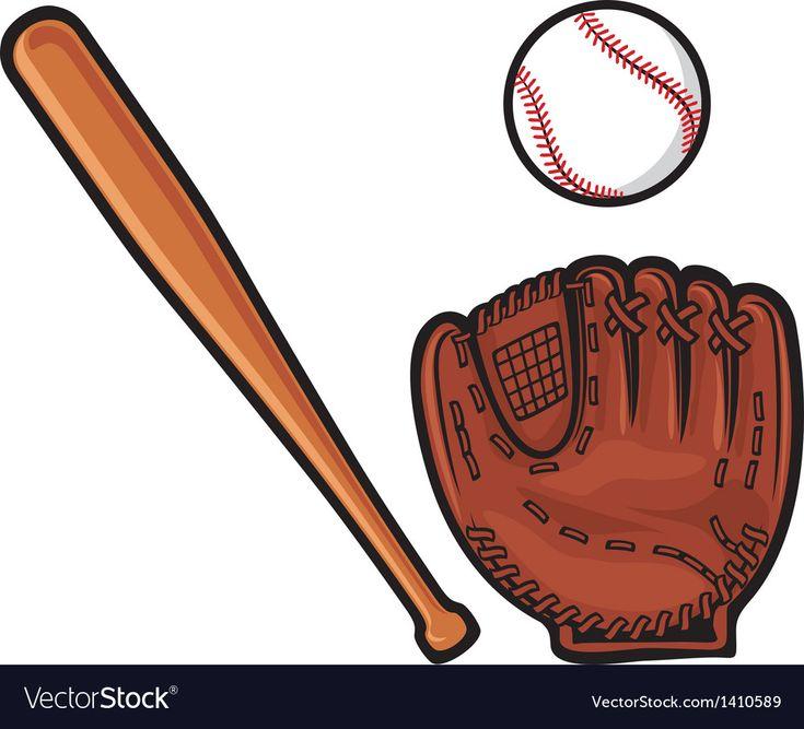 Download Baseball glove ball and bat Royalty Free Vector Image , # ...