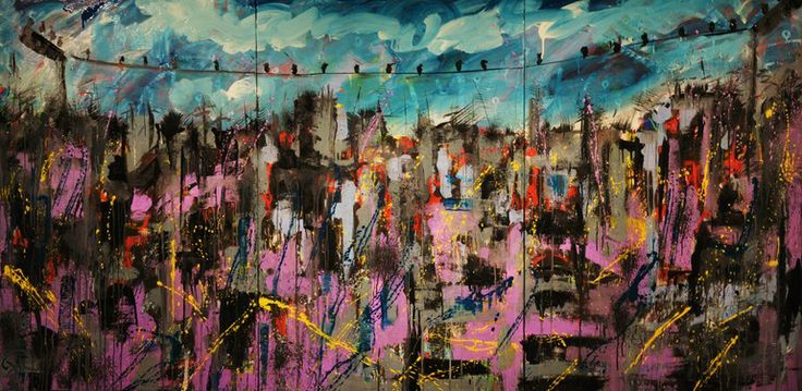 Encore et encore (Triptych) Acrylic on canvas, 120 x 240 November 2013 Created by Philippe Laferriere