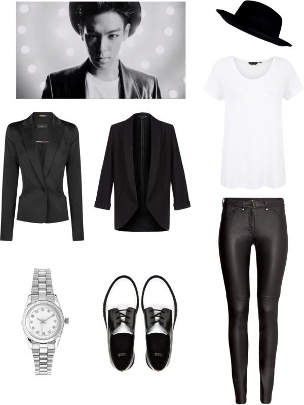 """[Requested by itsfinalee] Outfit inspired by Big Bang's TOP in """"Doom Dada"""" More Outfit on I Dress Kpop Get The Look: Satin Blazer Tuxedo Blazer Silver Watch Leather Brogues Fedora Hat White Tee Leather Finish Jeans"""