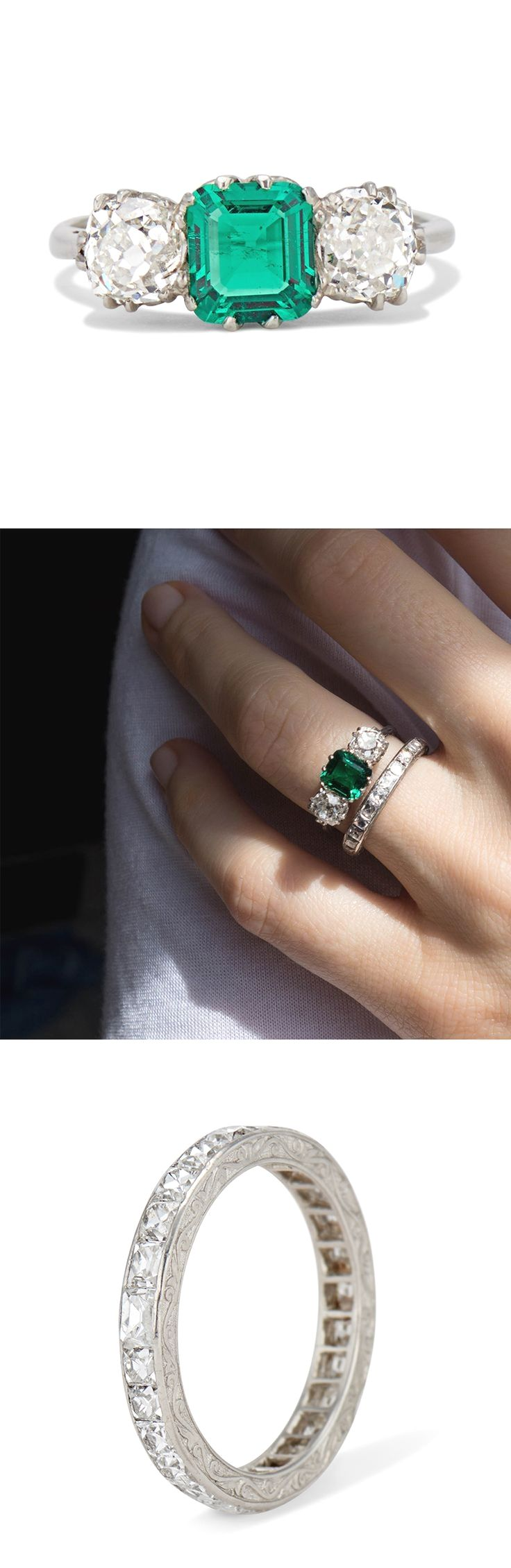 Vintage Early Art Deco columbian emerald engagement ring made in platinum worn with our antique Art Deco French cut diamond eternity band.
