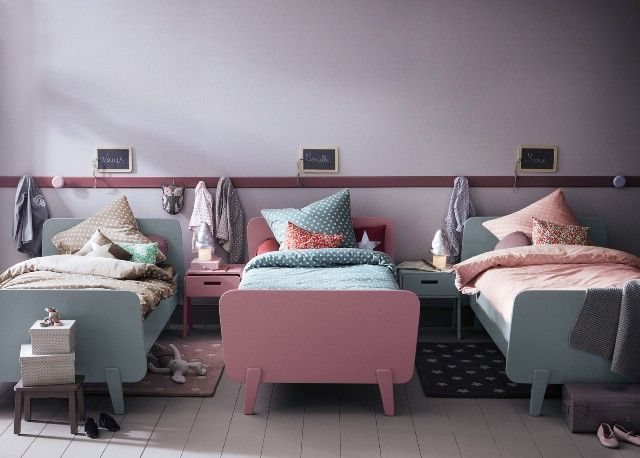 Chambre pastel pour 3... #interiors #kidsroom #bed