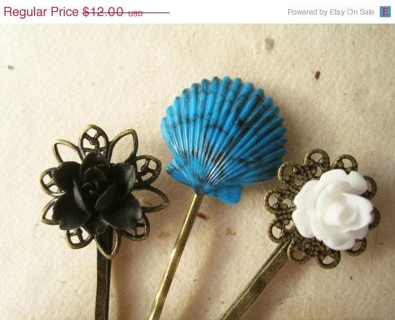 Cute! Summer Hair Accessories Mermaid Hair pins Flower by PiggleAndPop