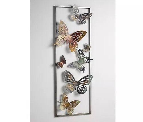 Vintage Details zu Wanddeko aus Metall Schmetterlinge Wandbild Metallbild Wanddekoration Bild