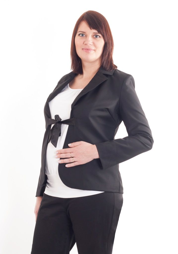 Maternity black blazer with a bow